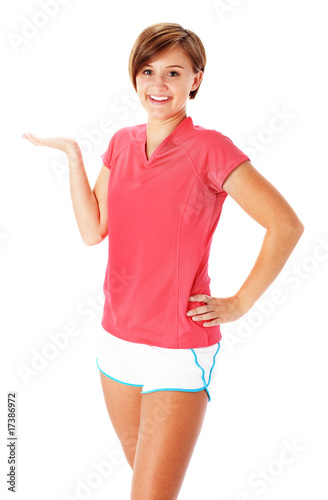 Young Fitness Woman in Red Shirt Presenting, Isolated on White