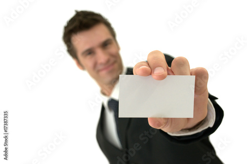 Elegant executive showing a business card