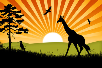 Africa background with giraffe and birds