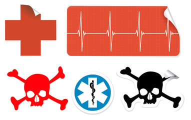 medical symbols on stickers