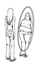 Grube, cienkie, anoreksja, lustro, anoreksja