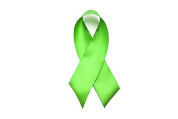Green satin breast cancer awareness ribbon