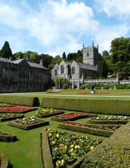 Gardens at Lanhydrock Castle near Bodmin in Cornwall England