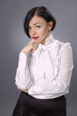 Attractive brunette business lady thinking2