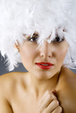 attractive woman wearing a white feather wig poster