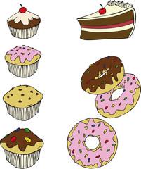 Muffins, Donuts, Kuchen, Torte, Kuchenstück