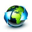 Planète terre et flèche bleue