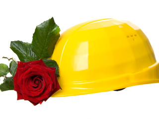 yellow helmet with rose on a white background.