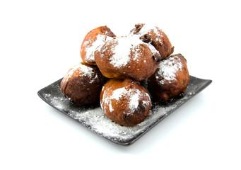 Dutch donut oliebollen over white background