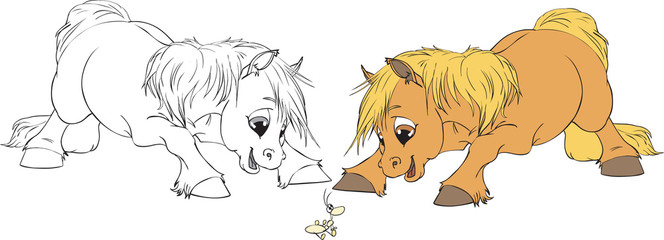 Vector Illustration of two curious Horse