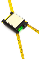 Modern tape measure with the level