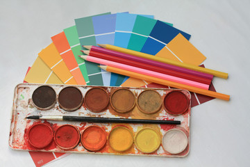 Collection of color samples, water colors and pencils