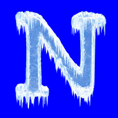 Ice-covered alphabet. Letter N.Upper case.With clipping path.