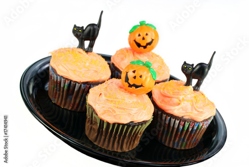 Decorated Halloween Cupcakes on White