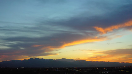 time lapse sunset behind mountains west of Vegas