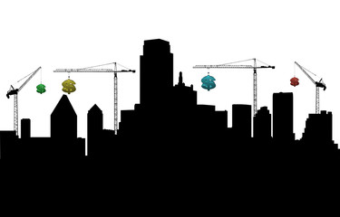 Dallas with cranes and dollars