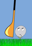 angry golfball awaiting stroke poster