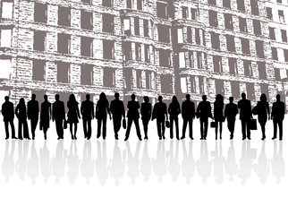 Illustration of business people and building