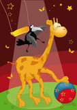 giraffe with a ball and a raven in circus poster