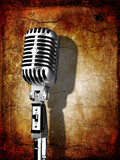 retro chrome microphone on grunge background