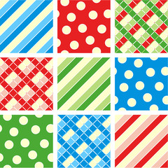 Seamless patterns (backgrounds) - polka-dot, plaid, stripes