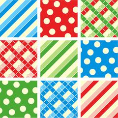 Seamless patterns (backgrounds) - polka-dot, plaid, stripes