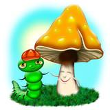 Fungo e Bruco-Mushroom and Worm-Champignon et Ver-Cartoon