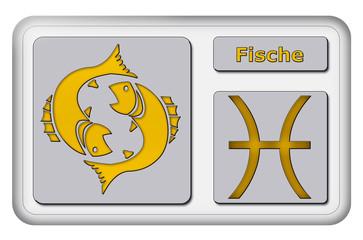 3D-Button - Tierkreiszeichen - Fische
