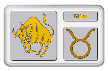 3D-Button - Tierkreiszeichen - Stier