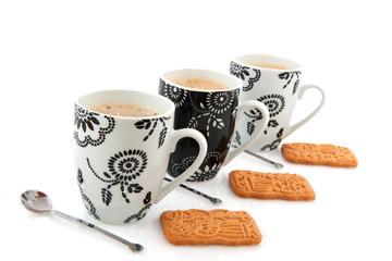 Black and white coffee mugs