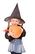 Child girl in costume Halloween witch  with pumpkin.