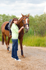 girl and her handsome horse.