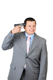 Businessman trying to suicide with gun shoot poster