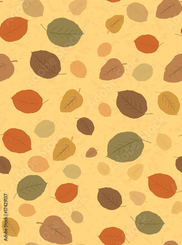 Seamless Textured Autumn Leaves Background