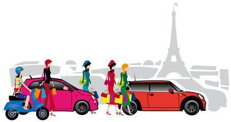 Parisiennes faisant du shopping