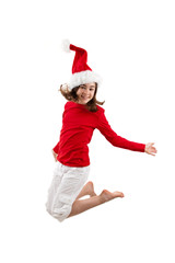 Christmas time - girl jumping isolated on white background