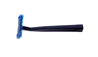 The dark blue razor for shaving