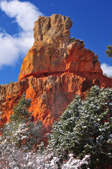 Zion National Park Snow covered canyon wall
