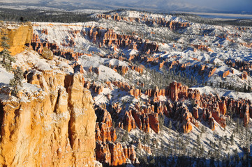 Bryce Canyon National Park Ravine canyon with snow