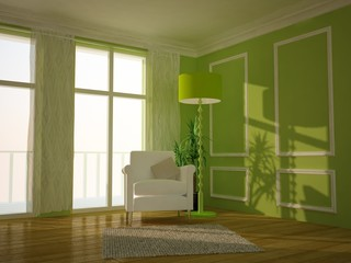 Green traditional lounge room