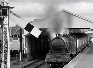 Steam train in monochrome