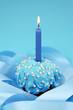 Birthday cake on blue background