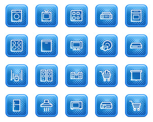 Home appliances web icons, blue square buttons with dots