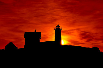 Maine's Cape Neddick Lighthouse at Sunrise