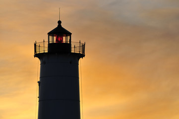 Lighthouse, Maine, cape neddick at sunrise