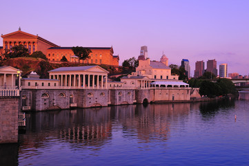 Philadelphia Waterworks on Schuykill River at sunset