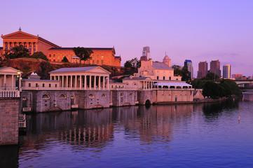 Philadelphia Waterworks on Schuykill River at sunset