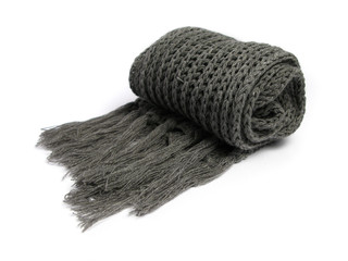 gray woolen scarf on white background