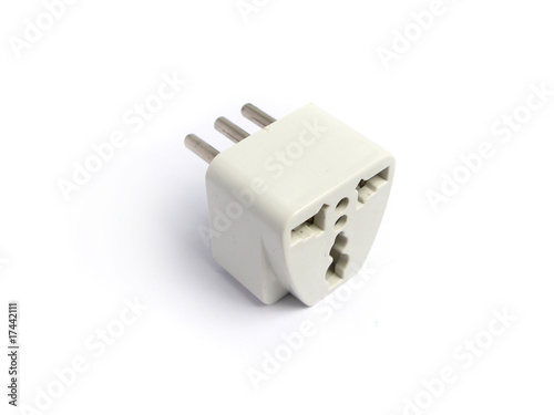 three-pin plug adapter on white background