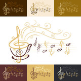 Fototapety musical coffee cup with color variations